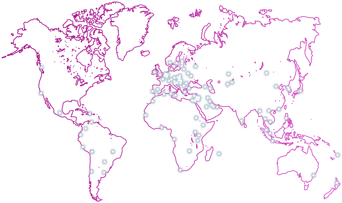 purple outlined map of the world